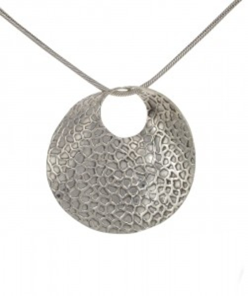 Sterling Silver Etched and Curved Disc Pendant without Chain