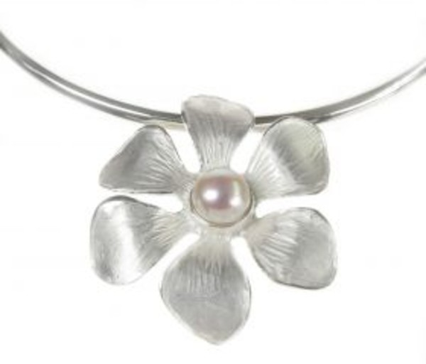 Sterling Silver and Pearl Brushed Flower Pendant with Silver Collar/Torque