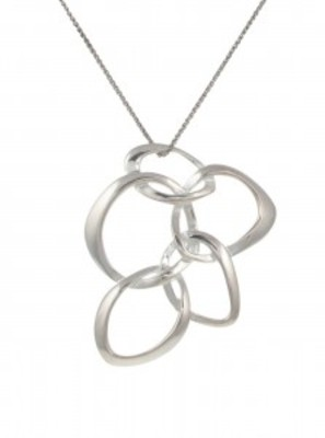 "Sterling Silver Interlinking Petals Pendant with 16 - 18"" Silver Chain"