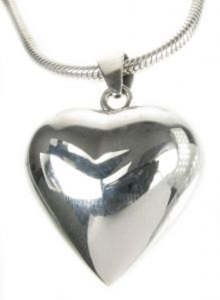 "Sterling Silver Chiming Heart Pendant with 18 - 20"" Silver Chain"