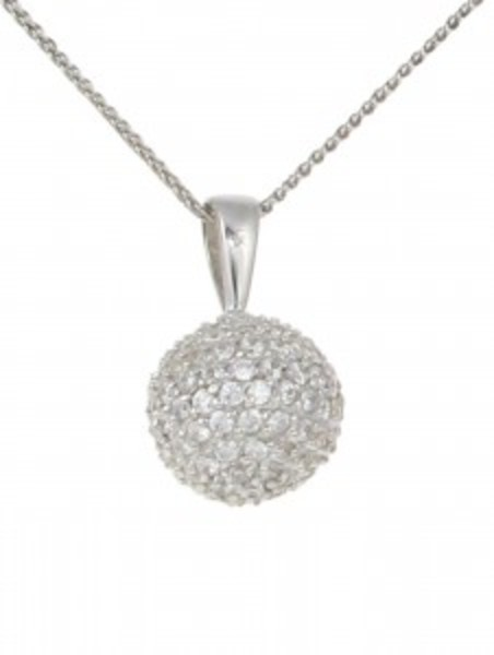 Silver and CZ ball pendant without Chain