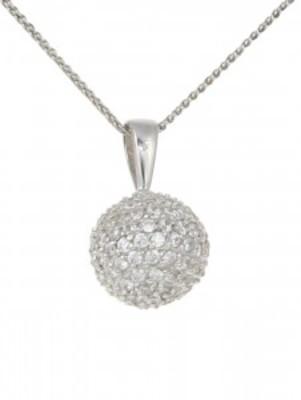 "Silver and CZ ball pendant with 16 - 18"" Silver Chain"