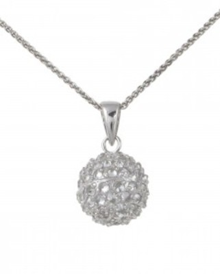 Small silver and CZ ball drop pendant without Chain