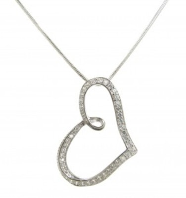 "Sterling Silver and CZ stylised heart pendant with 16 - 18"" Silver Chain"