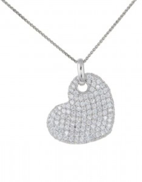 "Sterling Silver and CZ Flat Heart Pendant with 16 - 18"" Silver Chain"