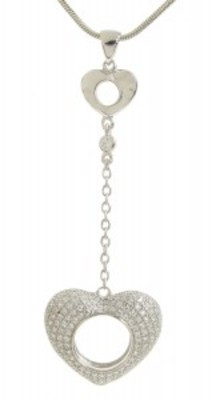 Sterling Silver and CZ Chain Heart Pendant without Chain