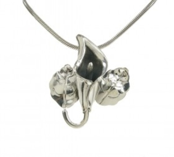 "Sterling Silver Large Lily Pendant with 18 - 20"" Silver Chain"