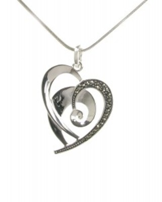 "Sterling Silver and Marcasite Flourish Heart Pendant with 16 - 18"" Silver Chain"
