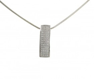 "Sterling Silver and CZ Convex Ingot Pendant with 16 - 18"" Silver Chain"