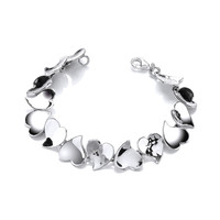 Sterling Silver Hammered and Shiny Hearts Bracelet