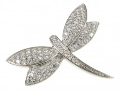 Sterling Silver and CZ Dragonfly Brooch