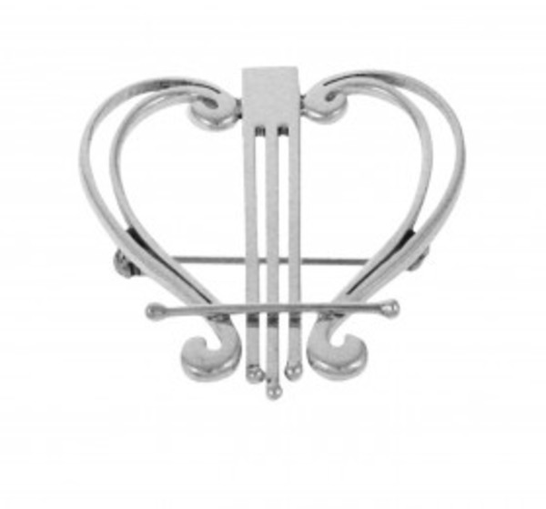 Sterling Silver Hearts and Harps Brooch