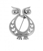 Sterling Silver Beady Eyed Owl Brooch