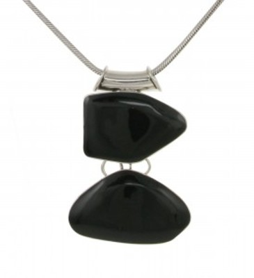 "Sterling Silver and Black Agate Abstract Pebbles Pendant with 18 - 20"" Silver Chain"