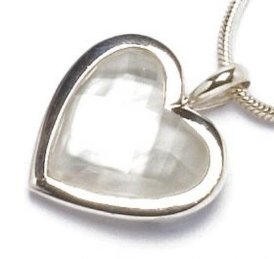 "Sterling Silver, White Mother of Pearl and Crystal Heart Pendant with 18 - 20"" Silver Chain"