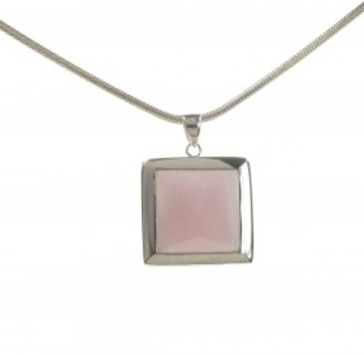 "Sterling Silver and Rose Quartz Square Framed Pendant with 16 - 18"" Silver Chain"