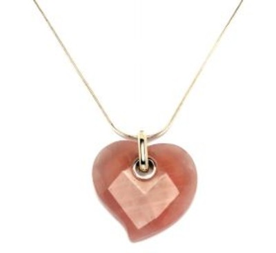 Sterling Silver and Rose Quartz Large Flat Faceted Heart Pendant without Chain