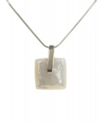 "Silver and White Mother of Pearl Lozenge Pendant with 16 - 18"" Silver Chain"