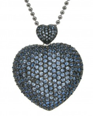 Large silver and sapphire CZ heart pendant without Chain