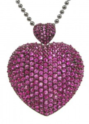 "Large silver and ruby CZ heart pendant with 26 - 28"" Silver Chain"