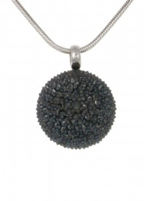 "Silver and black CZ dome pendant with 18 - 20"" Silver Chain"