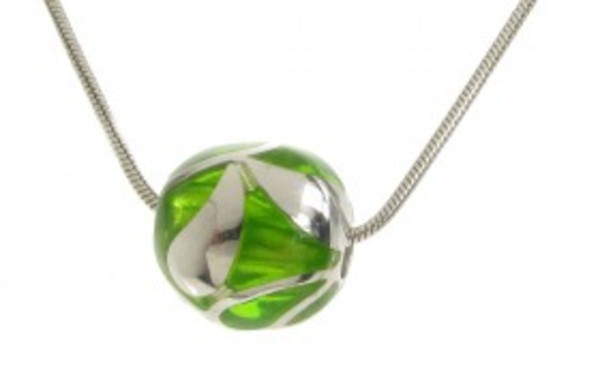 "Sterling Silver and Green Resin Bead Pendant with 16 - 18"" Silver Chain"