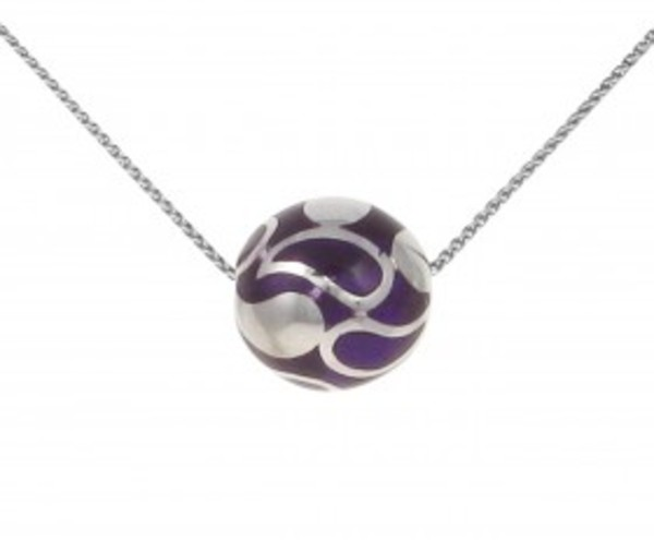 "Sterling Silver and Purple Resin Bead Pendant with 16 - 18"" Silver Chain"