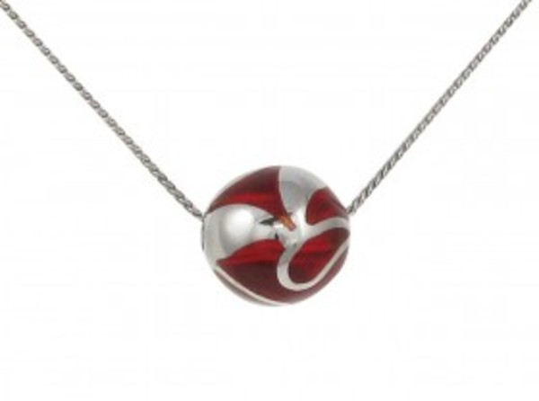 Sterling Silver and Red Resin Bead Pendant without Chain