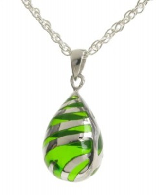 "Sterling Silver and Green Resin Teardrop Pendant with 16 - 18"" Silver Chain"