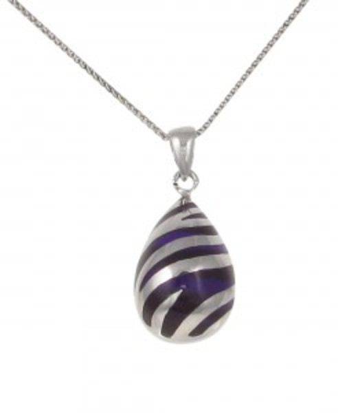 Sterling Silver and Purple Resin Teardrop Pendant without Chain