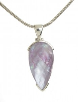 "Sterling Silver Crystal Topped Purple Mother of Pearl Teardrop Pendant with 18 - 20"" Silver Cha"