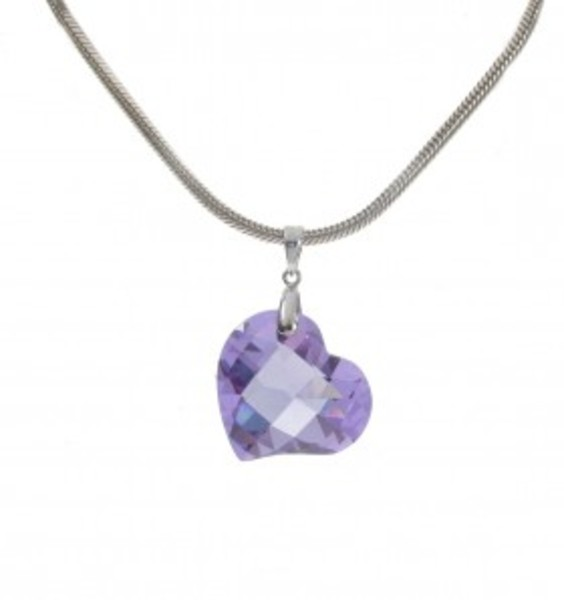 "Light Amethyst CZ Heart Pendant with 18 - 20"" Silver Chain"