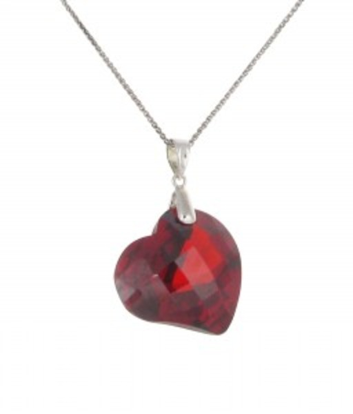 Red CZ Heart Pendant without Chain