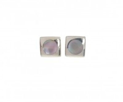 Square Silver and Mother of Pearl Earrings