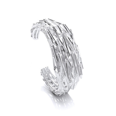 Heavy Silver Shards Cuff Bangle