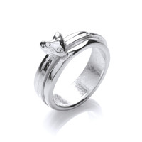 Silver Band Ring with Spinning Heart