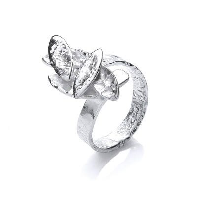 Silver Falling Leaves Ring