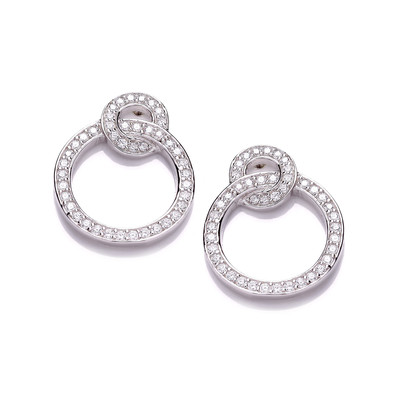 Silver and Cubic Zirconia Linked Circle Earrings