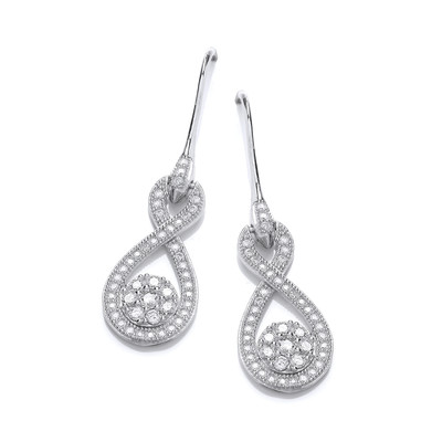 Silver and Cubic Zirconia Figure of Eight Drop Earrings