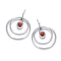 Silver and Red Jasper Hoop Earrings