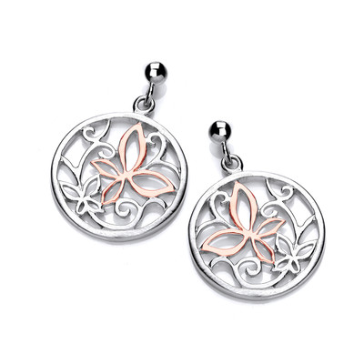 Rose Gold and Silver Butterfly Earrings