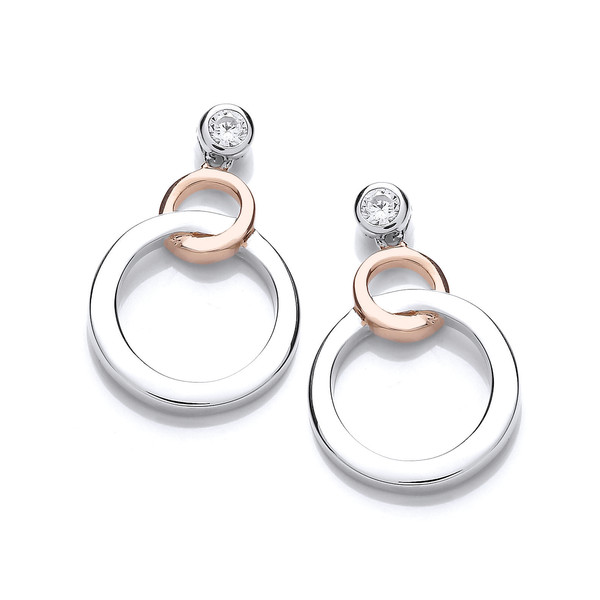 Silver And Rose Gold Linked Circle Earrings