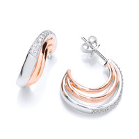 Cubic Zirconia, Silver and Rose Gold  Hooped Earrings