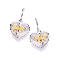 Gold Vermeil and Brushed Silver Double Heart Earrings