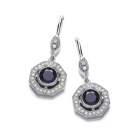Deco Style Tanzanite and Cubic Zirconia earrings