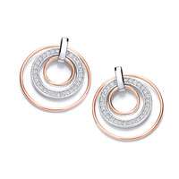 Round Rose Gold and Sparkles Earrings