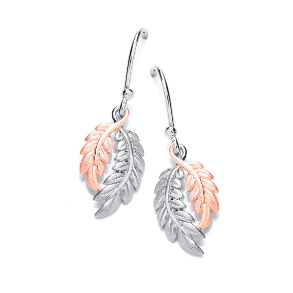 Silver and Rose Gold Feather Earrings