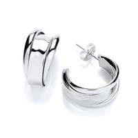 3 Hoops Silver Stud Earrings