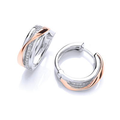 Silver, Rose Gold and Cubic Zirconia Hinged Hoop Earrings