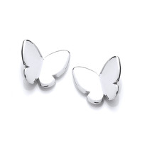 Simple Silver Butterfly Stud Earrings